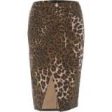 River Island Brown leopard print split hem pencil skirt | animal prints