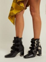 TOGA Black Buckled faux fur-trimmed leather ankle boots ~ fluffy western style