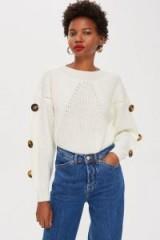 Topshop Ivory Button Sleeve Jumper | neutral knits | drop shoulder sweater