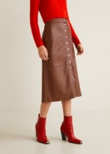 MANGO Buttons leather skirt in cognac