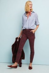 Anthropologie Cadet Slim Utility Trousers in Plum | camo printed pants