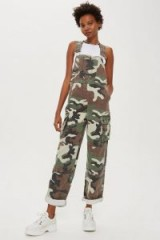 TOPSHOP Camo Print Dungarees / camouflage overalls