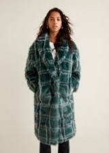 MANGO Checked faux fur coat in green / autumn tones / luxe style coats