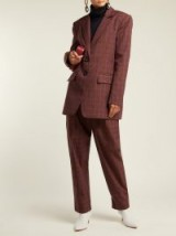 TIBI Checked twill blazer / brown check print suit jacket