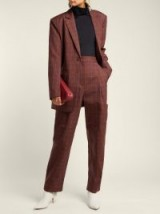 TIBI Checked twill tapered trousers / brown check print suit pants