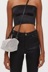 TOPSHOP Chia Diamante Cross Body Bag / silver crossbody