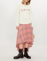 CHINTI AND PARKER Love embroidered cashmere and wool-blend jumper in cream | slogan sweaters