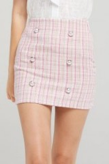 STORETS CLARA PEARL BUTTON TWEED SKIRT in PINK | checked mini