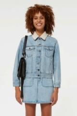 REBECCA MINKOFF Clark Jacket in Light Blue Wash | shearling collar denim jacket