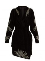 DODO BAR OR Corrine embellished black velvet kimono / silver bead and sequin sparkles