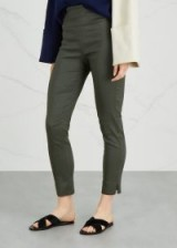 CREA CONCEPT Army green linen-blend trousers | cropped skinny split cuff pants
