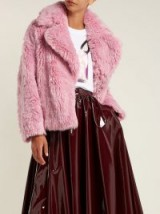 MSGM Pink Cropped faux-fur jacket ~ luxe winter coats