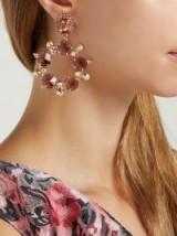 ERDEM Pink Crystal and faux-pearl hoop-drop earrings ~ statement hoops