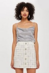 TOPSHOP Crystal Trim Boucle Mini Skirt in Ivory / shimmering crystals
