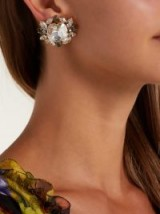 DOLCE & GABBANA Crystal-embellished clip-on earrings in clear and dark-grey ~ beautiful Italian jewellery