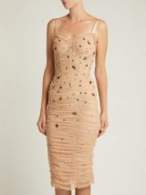 DOLCE & GABBANA Crystal-embellished beige tulle midi dress ~ stunning Italian clothing