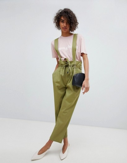 Current Air Utility Trousers With Detachable Braces in army green – casual style fashion – utilitarian