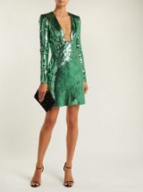 DUNDAS Green Cut-out back sequinned dress | plunge front dresses