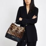 River Island Dark brown leopard print bucket bag | animal prints | autumn accessory