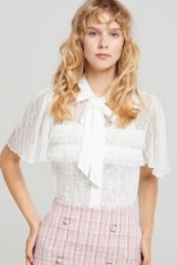 STORETS DAYE SHEER DOT LACE BLOUSE in IVORY | vintage style | pussy bow