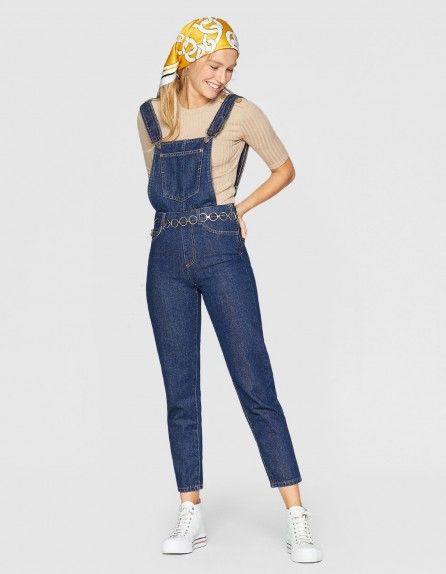 stradivarius Denim dungarees | dark blue overalls
