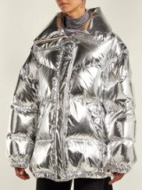 MM6 MAISON MARGIELA Detachable sleeve silver puffer jacket ~ metallic quilted coat