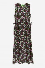 TOPSHOP Boutique Ditsy Print Midi Dress / floral / tie side