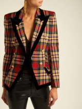 ALEXANDRE VAUTHIER Double-breasted tartan wool blazer / plaid slim fit jacket