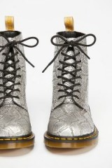 Dr. Martens Pascal Silver Lace Up Boot Silver Metallic. LUXE DMs