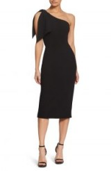 DRESS THE POPULATION Tiffany One-Shoulder Midi Dress in Black | chic LBD | cocktail time