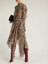 PETAR PETROV Dreya brown leopard-print silk-chiffon handkerchief hem midi dress