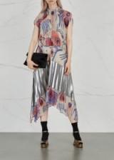 DRIES VAN NOTEN Daveri printed chiffon midi dress ~ pleated metallic-silver inserts