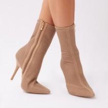 PUBLIC DESIRE DRUWL POINTY SOCK BOOTS IN NUDE FISHNET | stiletto heels