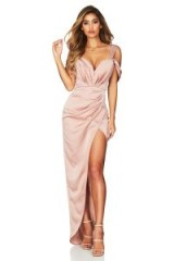 Nookie Zodiac Gown in Dusty Pink | plunge front draped satin dress