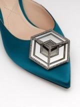 NICHOLAS KIRKWOOD Eden dark-green crystal-embellished satin mules ~ glamorous details ~ luxe footwear