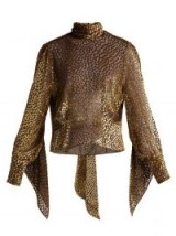 PETAR PETROV Esra metallic-gold fil-coupé chiffon blouse / shimmering high neck top