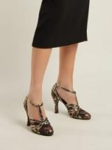 ERDEM Estella black floral-jacquard T-bar pumps ~ gold metallic trim shoes