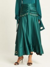 SELF-PORTRAIT Eyelet-embellished green satin midi skirt ~ fluid and floaty