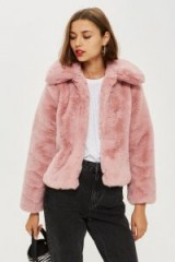 Topshop Faux Fur Coat in rose – fluffy pink luxe style coat