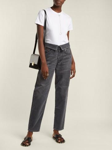 JEAN ATELIER Flip fold-over dark grey corduroy jeans – cord pants