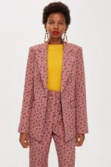 TOPSHOP Floral Jacquard Single Breasted Jacket / pretty pink blazer