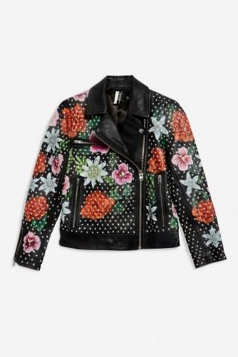 TOPSHOP Floral Leather Biker Jacket in Black