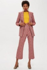 TOPSHOP Floral Print Jacquard Kick Flare Trousers / pink cropped suit pants