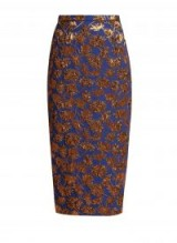 ROCHAS Blue and Bronze Floral-jacquard pencil skirt ~ metallic luxe