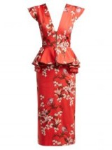 JOHANNA ORTIZ Florearse floral-print red cotton-blend dress – plunging front – peplum waist