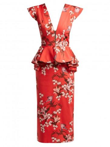 JOHANNA ORTIZ Florearse floral-print red cotton-blend dress – plunging front – peplum waist