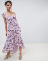 Forever New Midaxi Dress with Ruffle Details in Pink Floral Print