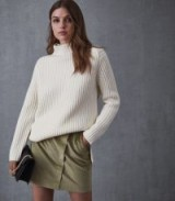 REISS FRANCIS CORDUROY WARP FRONT MINI SKIRT GREEN ~ luxe cord skirts