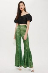 Topshop Geo Print Flared Trousers | green retro flares