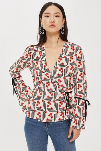 TOPSHOP Geometric Floral Print Wrap Top / wide sleeved / retro inspired prints